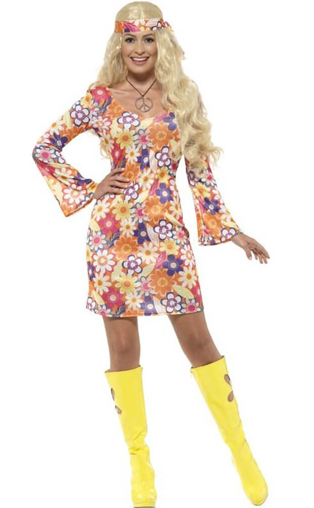Ladies 60's Flower Hippie Fancy Dress Costume