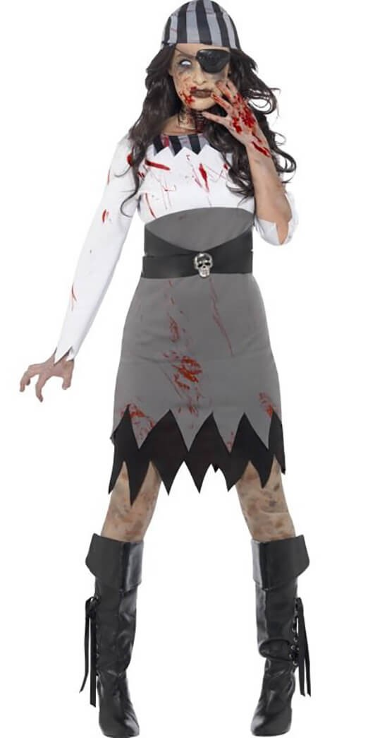 Ladies Grey Zombie Pirate Halloween Fancy Dress Costume