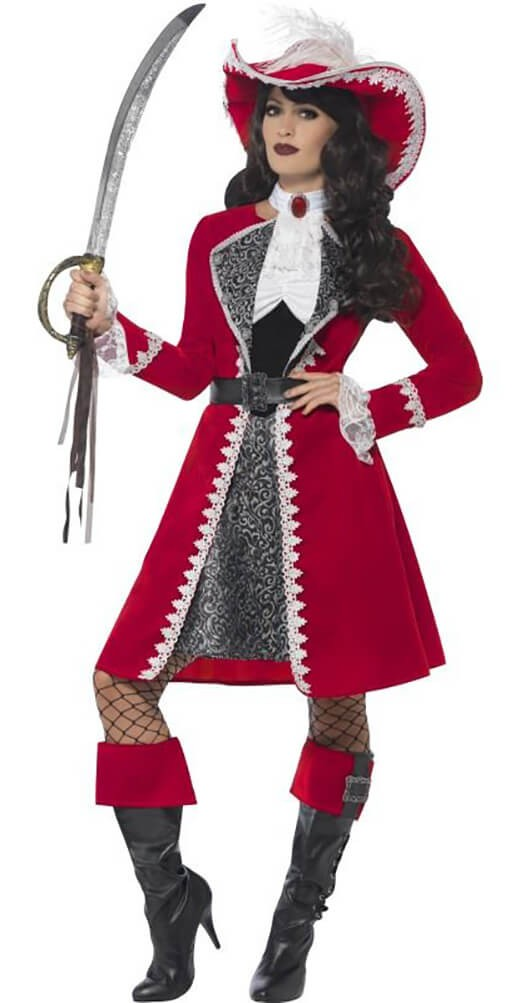 Ladies Red Deluxe Authentic Pirate Captain Fancy Dress Costume