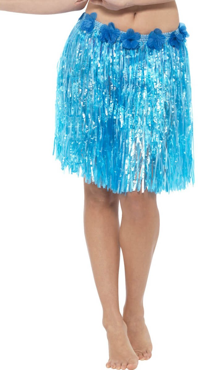 Neon Blue Hawaiian Hula Skirt With Flowers Fancy Dress Accessory