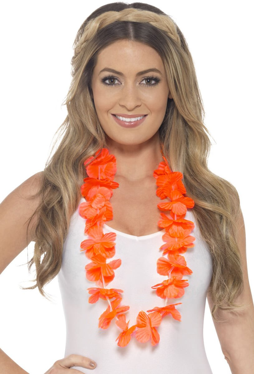 Neon Orange Hawaiian Lei Fancy Dress Accessory