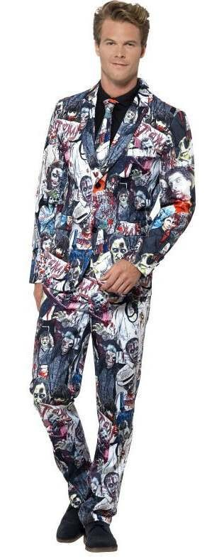 Mens Halloween Zombie Stand Out Suit Fancy Dress Costume