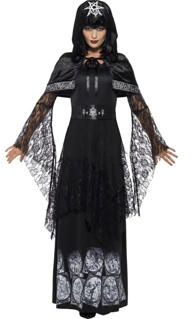 Ladies Black Magic Mistress Halloween Fancy Dress Costume