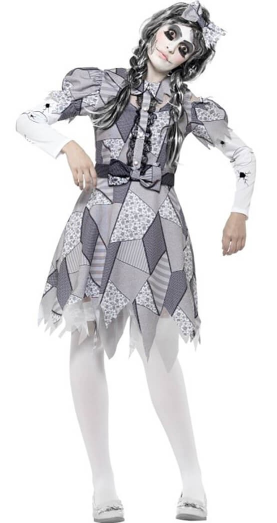 Ladies Grey Damaged Doll Halloween Fancy Dress Costume