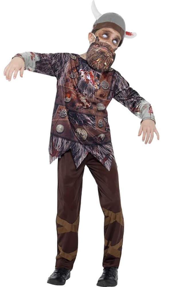 Boys Brown Deluxe Zombie Viking Halloween Fancy Dress Costume