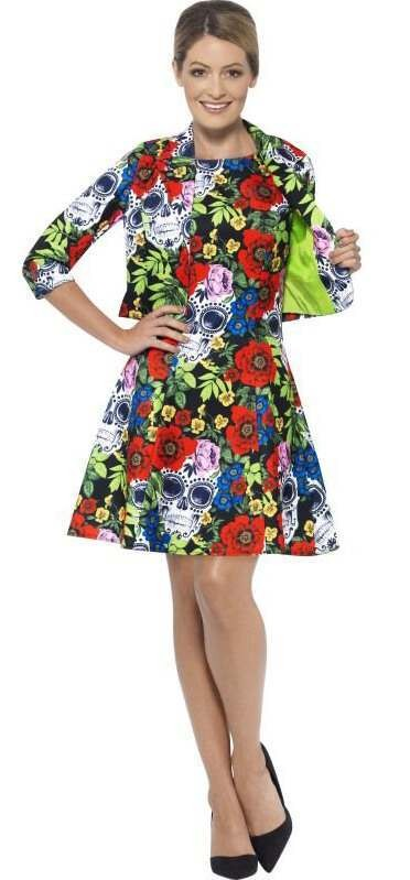 Ladies Multicolour Day Of The Dead Stand Out Suit Fancy Dress Costume