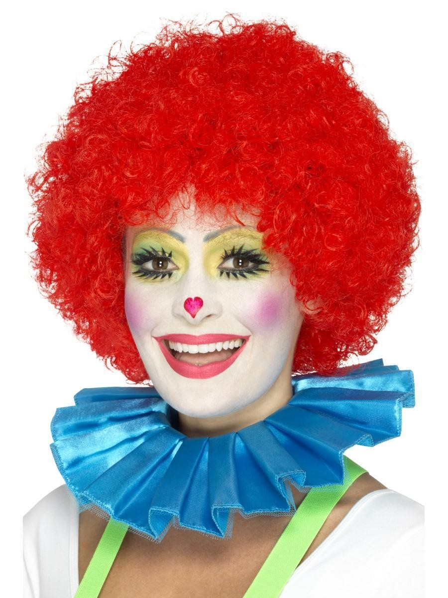 Clown Neck Ruffle Blue Fancy Dress Accessory