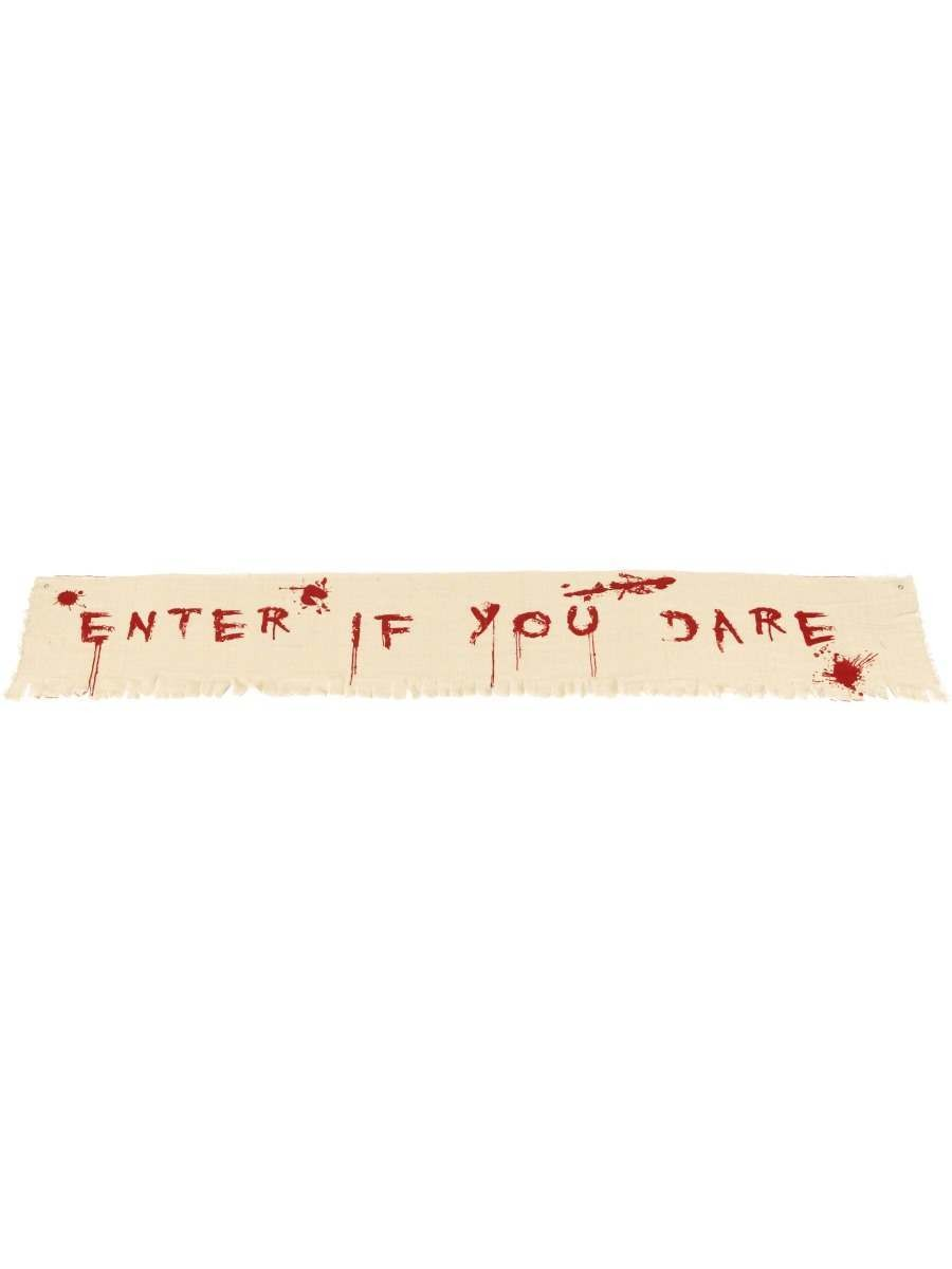 Enter If You Dare Bloody Banner Decoration Fancy Dress Accessory