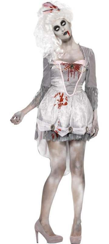 Ladies Grey Georgian Zombie Halloween Fancy Dress Costume