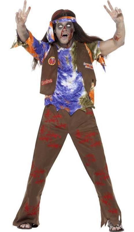 Men'S Peace Loving Zombie Hippie Halloween Fancy Dress Costume