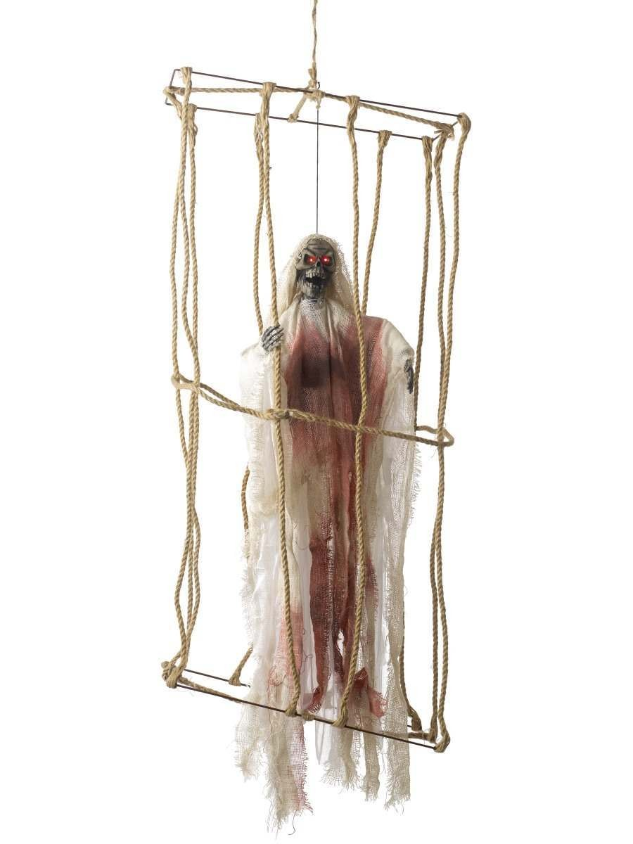 Animated Hanging Caged Skeleton Decoration Fancy Dress Accessory