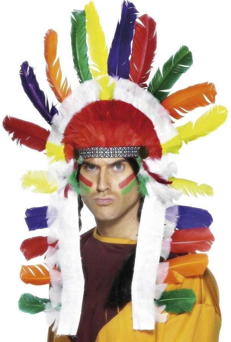 Long Indian Chief Headdress - Fancy Dress (Cowboys/Indians)