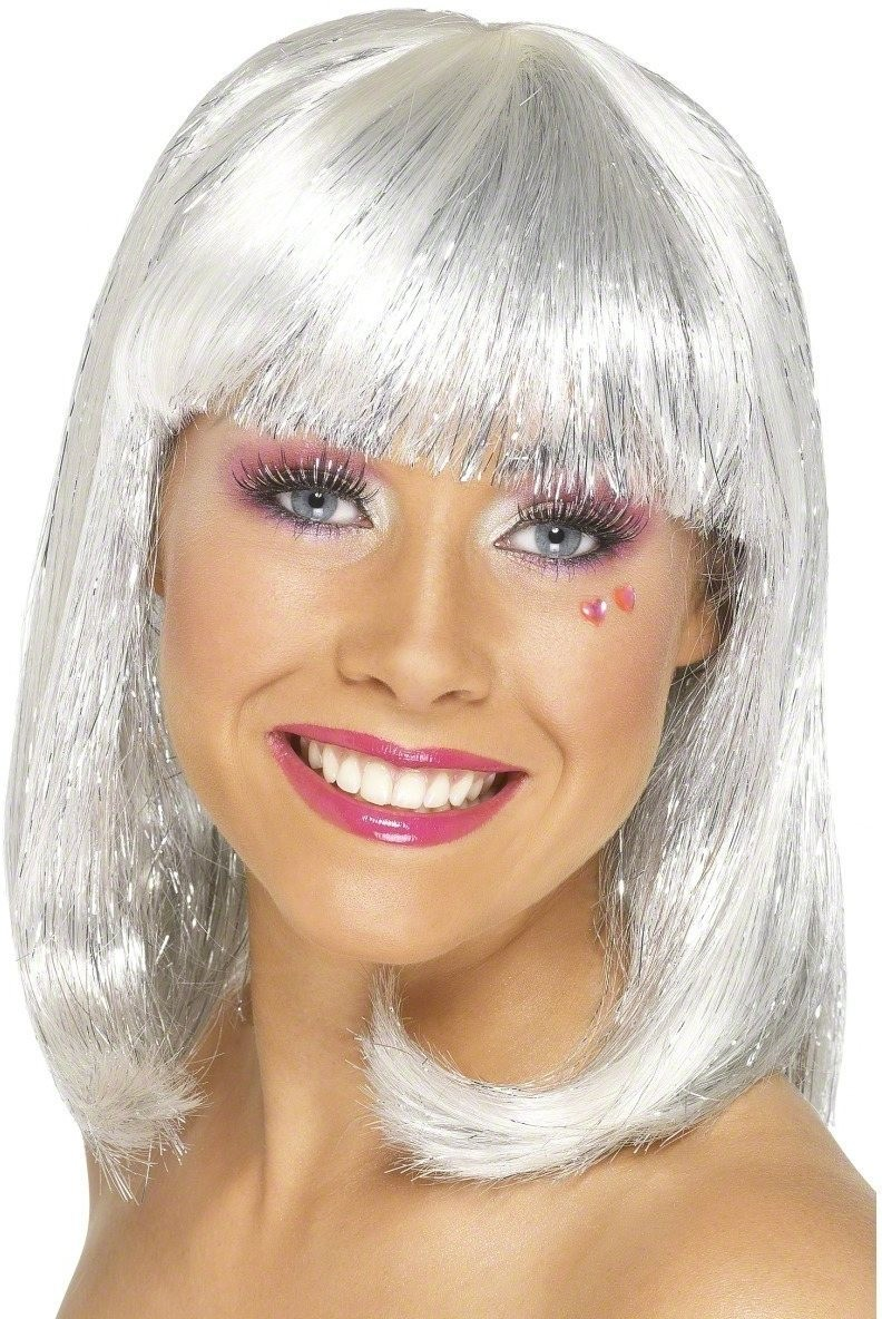 Glitter Party Wig - Fancy Dress Ladies (Christmas) - White
