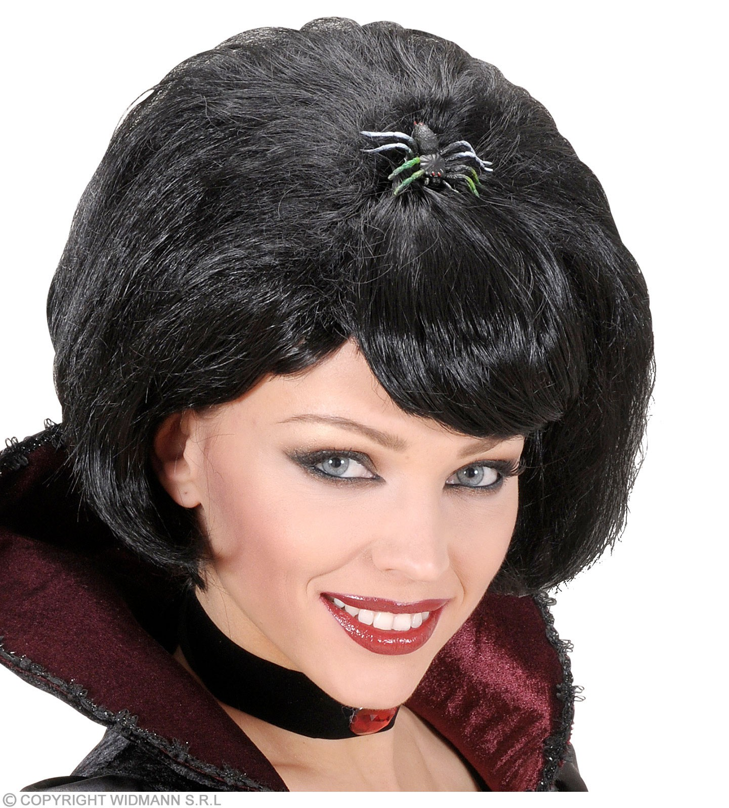 Black Widow Wigs W/Spider In Box - Fancy Dress