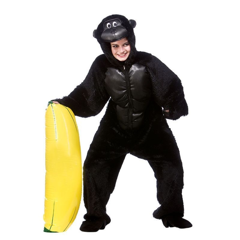 Adult Unisex Deluxe Gorilla Animal Outfit - One Size (Black)