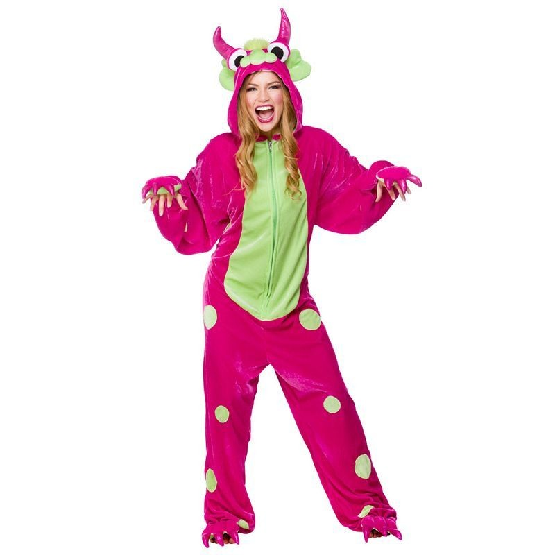 Adult Unisex Monster -Pink/Green Animal Outfit - One Size (Pink/Green)