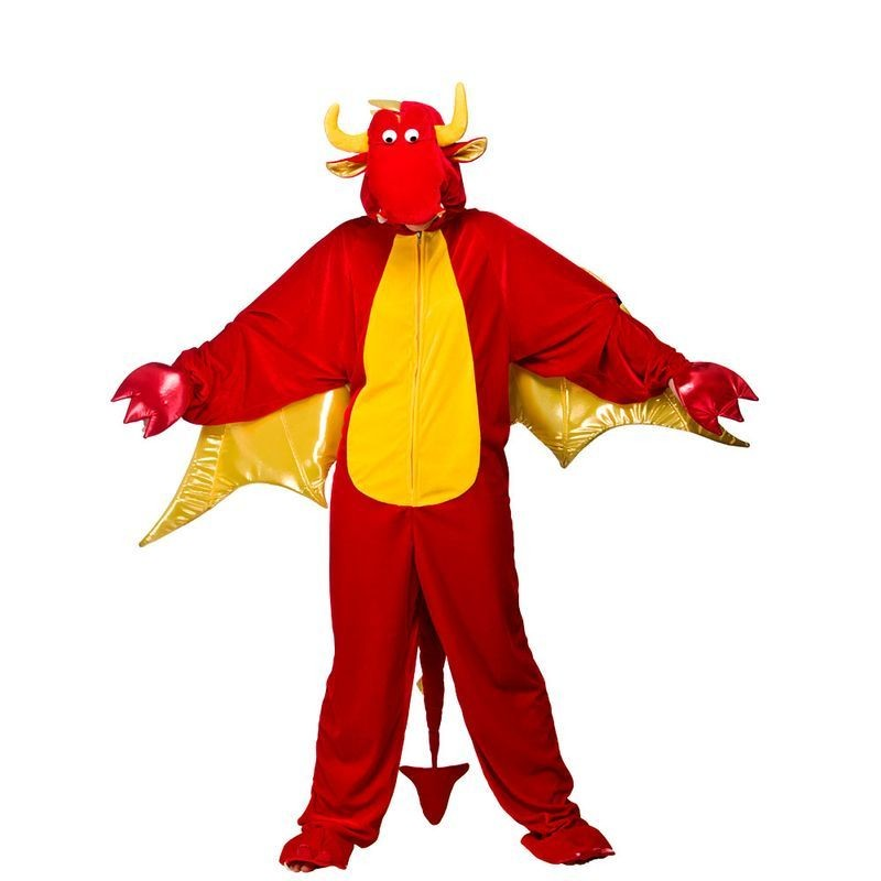 Adult Unisex Deluxe Dragon Animal Outfit - One Size (Red)
