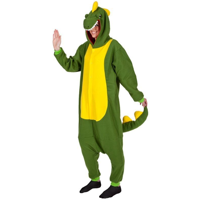 Adult Unisex Dinosaur Fleecy All In 1 Animal Outfit - One Size (Green)