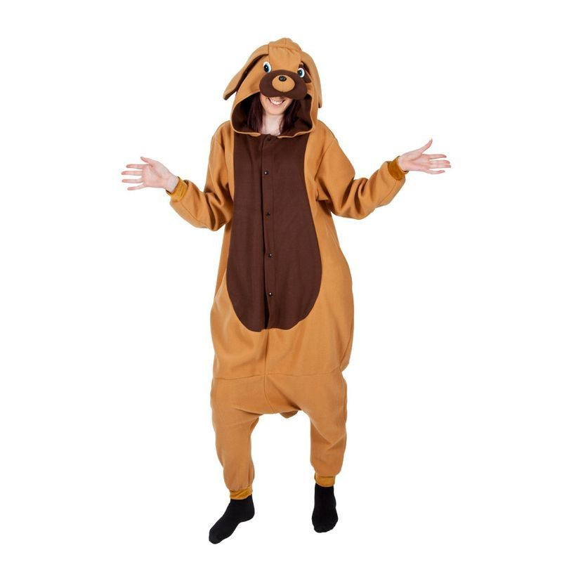 Adult Unisex Puppy Dog Fleecy All In 1 Animal Outfit - One Size (Brown)
