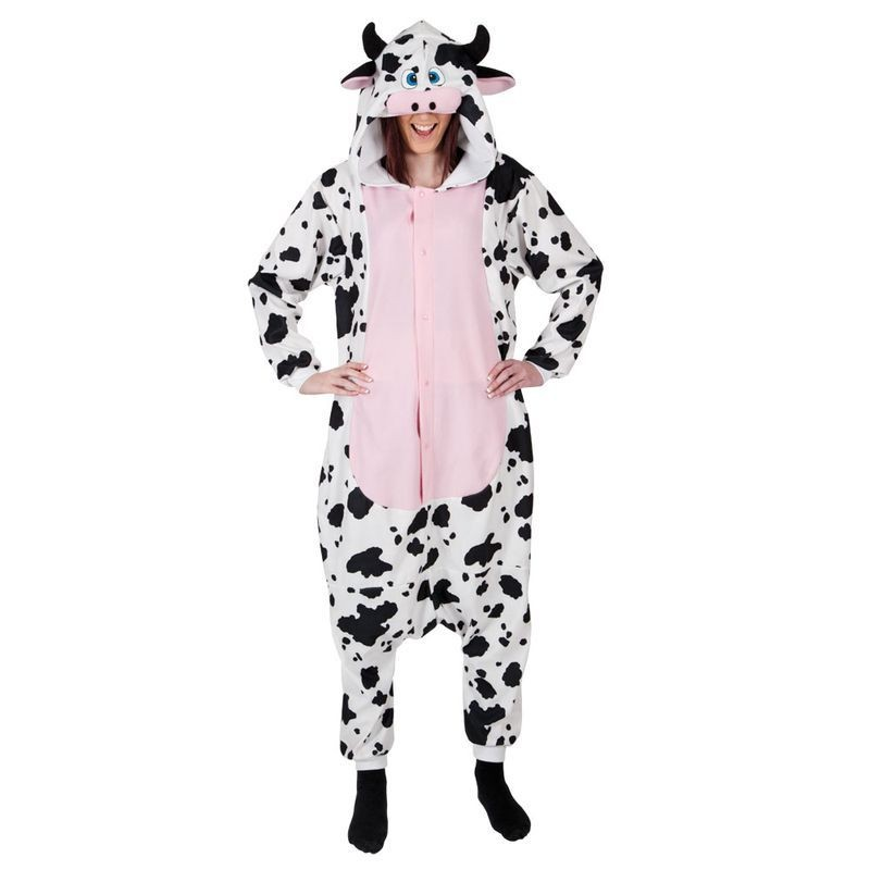 Adult Unisex Cow Fleecy All In 1 Animal Outfit - One Size (Black, White)