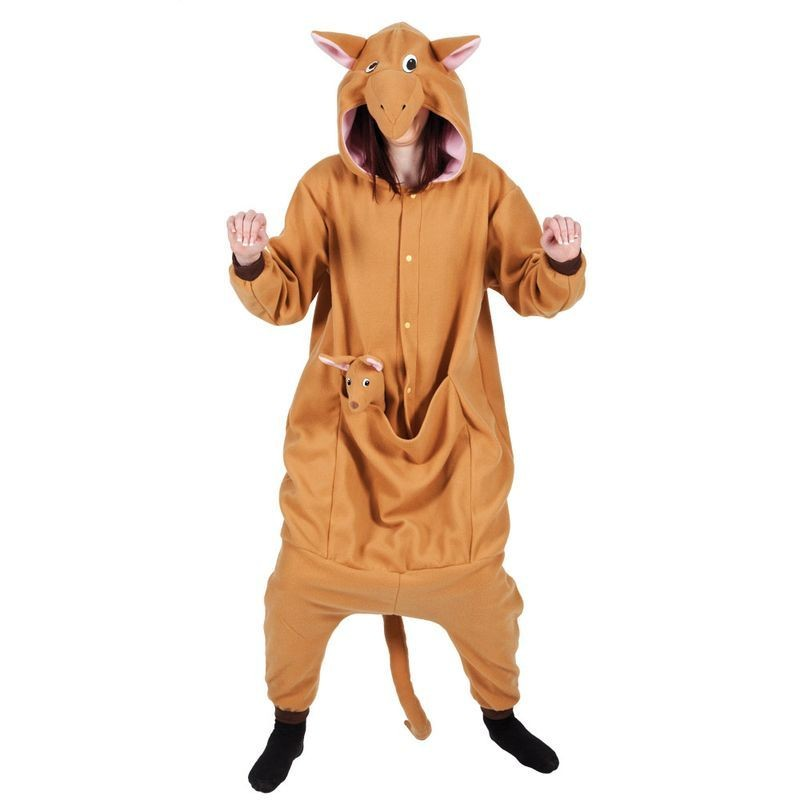 Adult Unisex Kangaroo Fleecy All In 1 Animal Outfit - One Size (Brown)