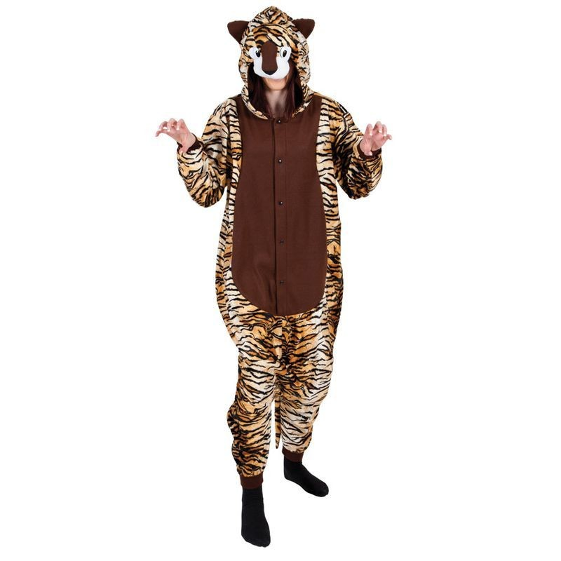 Adult Unisex Tiger Fleecy All In 1 Animal Outfit - One Size (Brown)