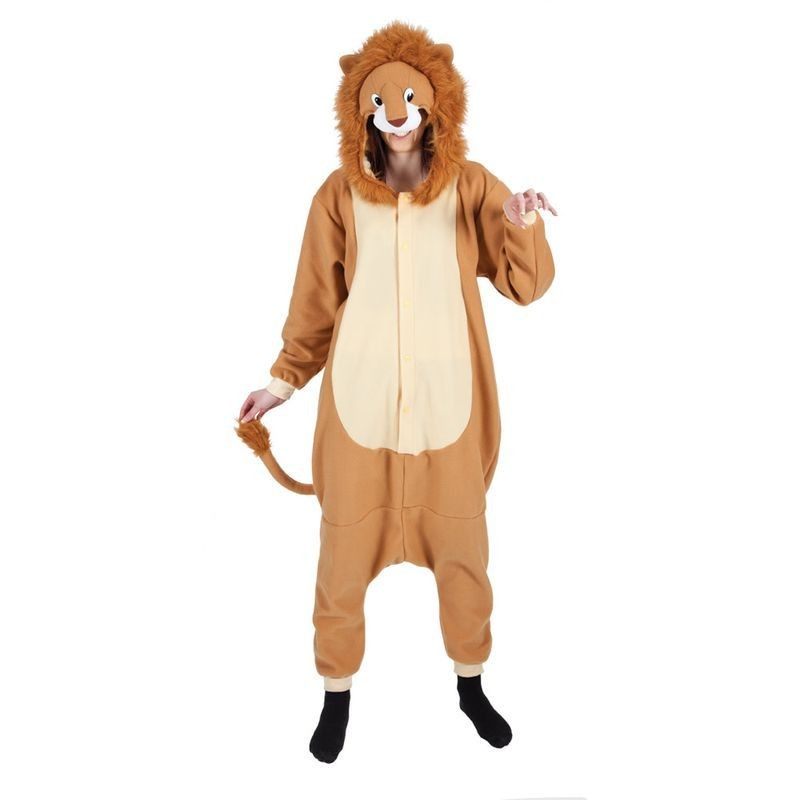 Adult Unisex Lion Fleecy All In 1 Animal Outfit - One Size (Brown)