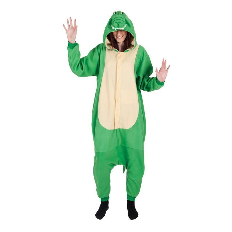 Adult Unisex Crocodile Fleecy All In 1 Animal Outfit - One Size (Green)