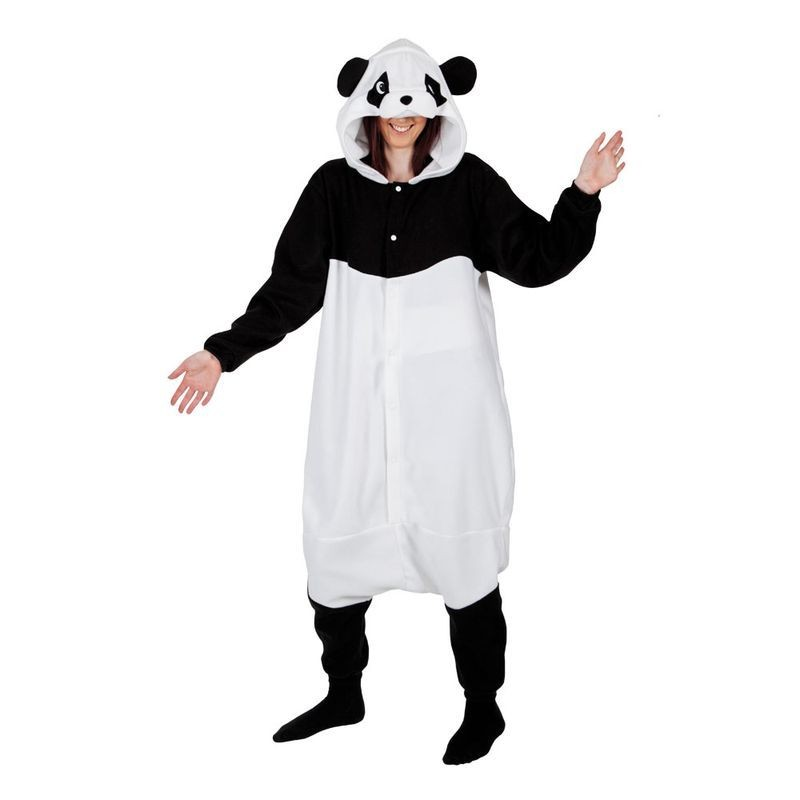 Adult Unisex Giant Panda Fleecy All In 1 Animal Outfit - One Size (Black, White)