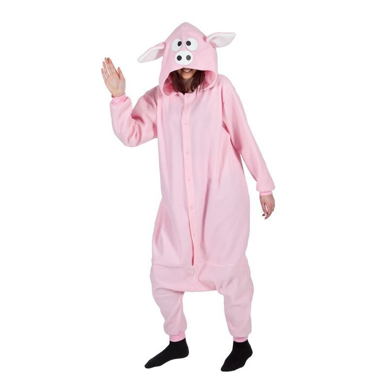 Adult Unisex Piggy Fleecy All In 1 Animal Outfit - One Size (Pink)