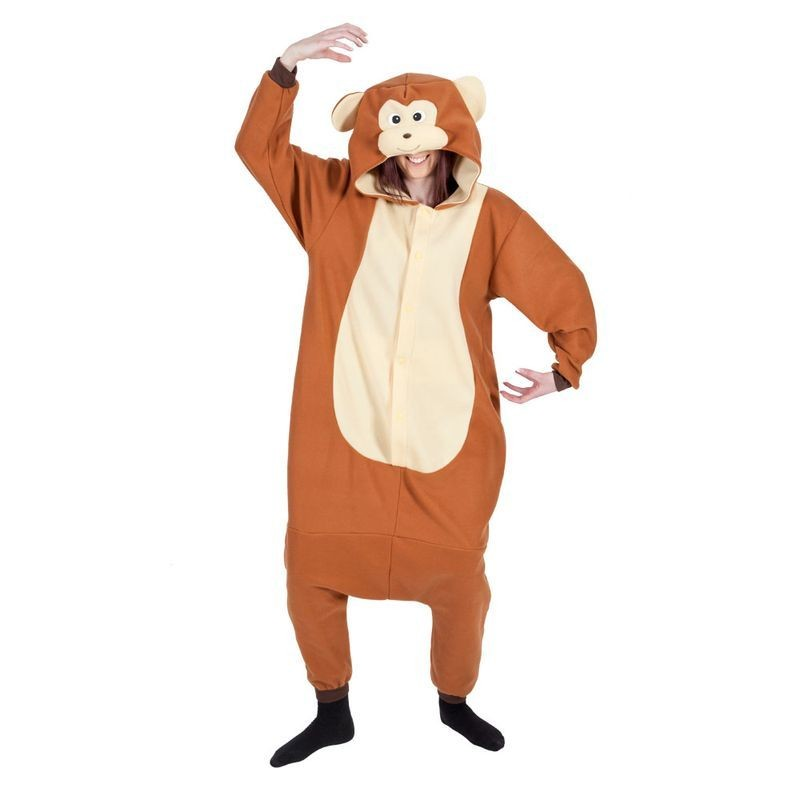 Adult Unisex Monkey Fleecy All In 1 Animal Outfit - One Size (Brown)