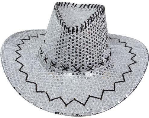 Silver Sequin Cowboy Hat Fancy Dress (Cowboys/Native Americans)