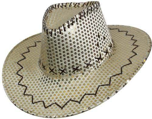 Gold Sequin Cowboy Hat Fancy Dress (Cowboys/Native Americans)