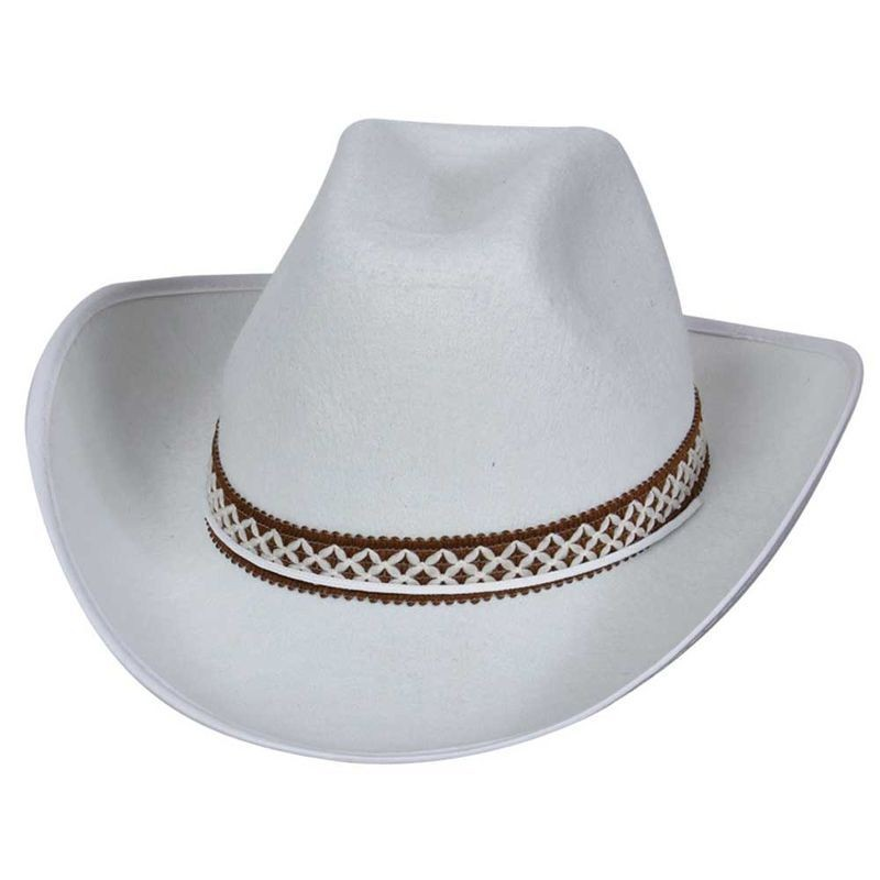 White Cowboy Hat W/Decorative Band Fancy Dress (Cowboys/Indians)