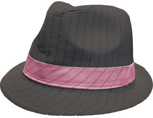 Fedora - Grey With Pink Pinstripe & Pink Band