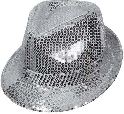 Fedora - Silver Sequined Fancy Dress
