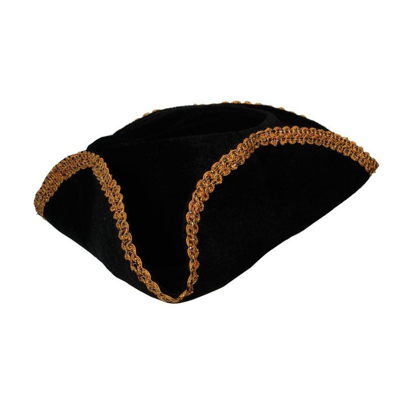Pirate Hat - Black With Gold Braid Trim Fancy Dress (Pirates)