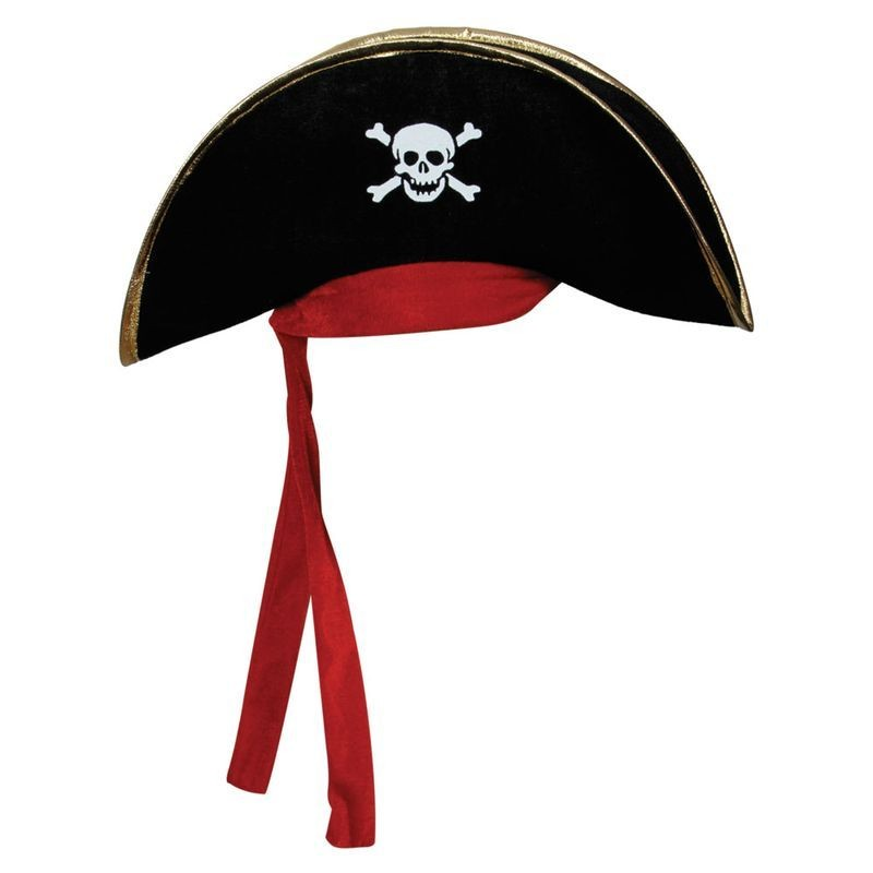Pirate Hat- Black W/ Gold Trim & Red Bandana (Pirates)