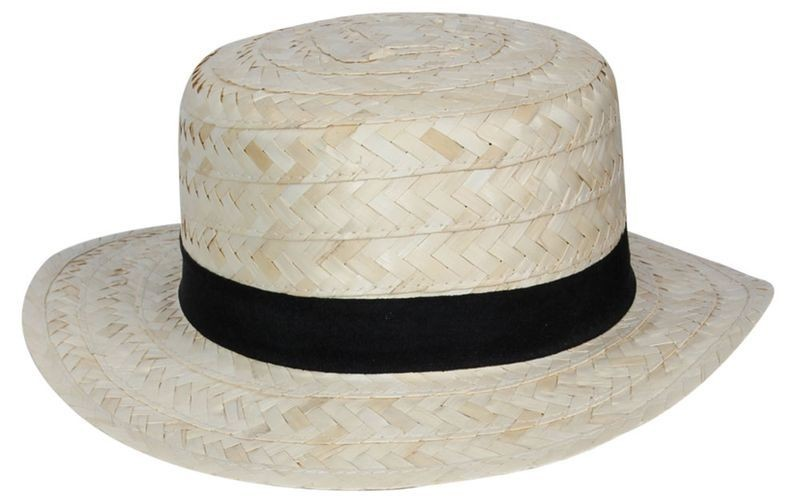 Straw Boater With Navy Band Fancy Dress