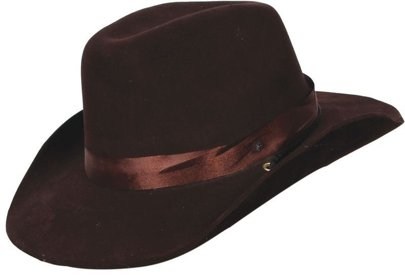 Brown Cowboy Hat With Satin Band Fancy Dress (Cowboys/Native Americans)
