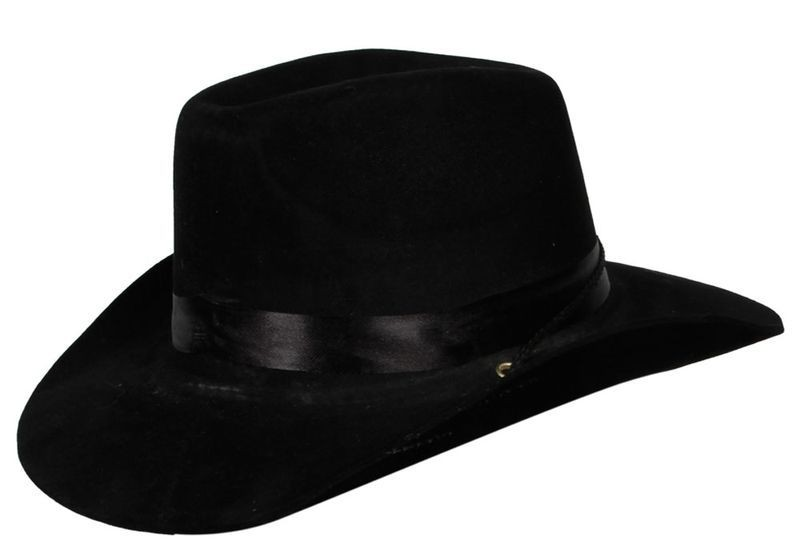 Black Cowboy Hat With Satin Band Fancy Dress (Cowboys/Indians)