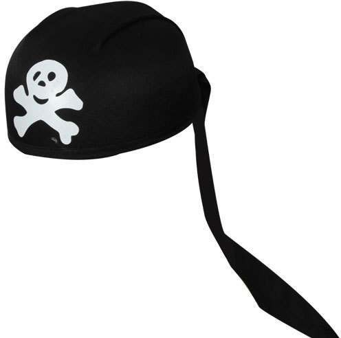 Pirate Bandana - Black With Skull & Bones Print (Pirates)