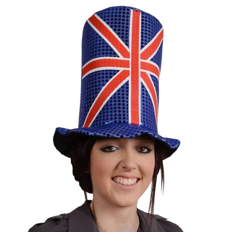 Adult Unisex G.B Giant Sequin Top Hat Hats - (Red, White, Blue)