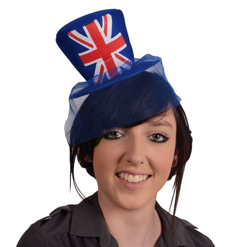 Adult Unisex G.B Mini Top Hat On Headband Hats - (Red, White, Blue)
