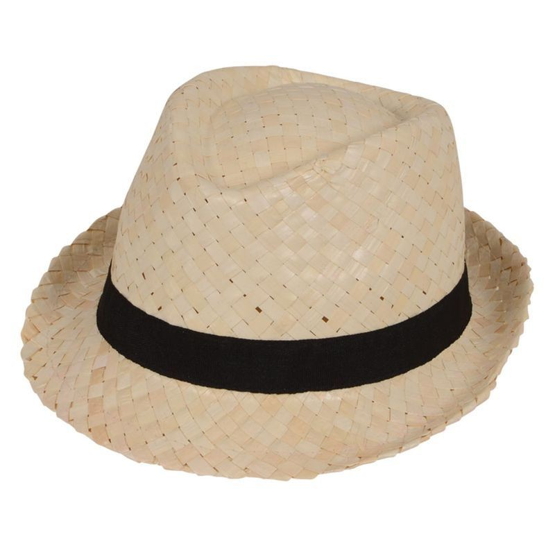 Mens Straw Fedora With Black Band Hats