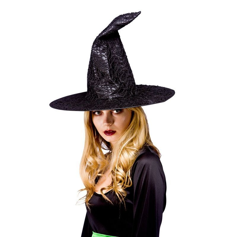 Ladies Wiches Hat - Black Satin With Net Hats - (Black)
