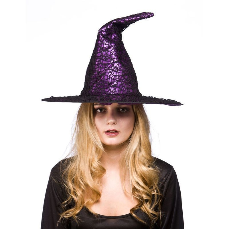 Ladies Wiches Hat - Purple Satin With Net Hats - (Purple)