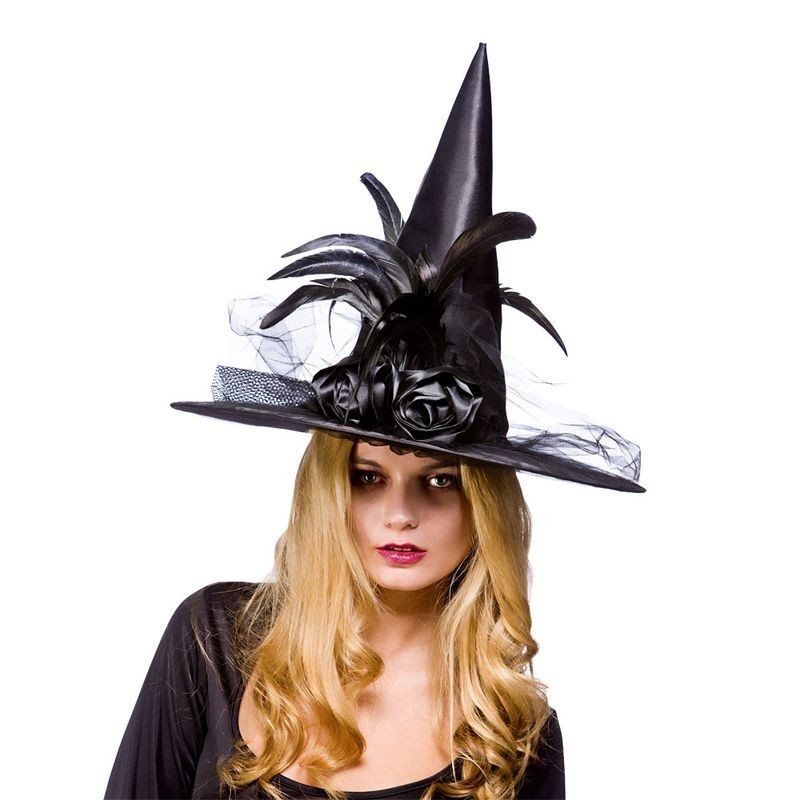 Ladies Deluxe Witches Hat With Feathers - Black Hats - (Black)
