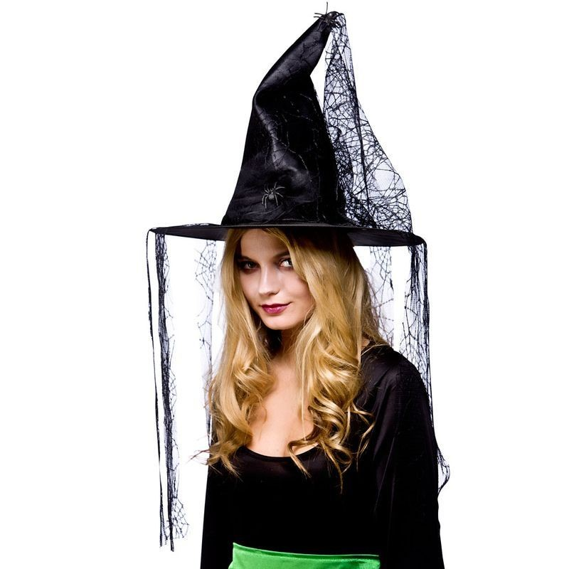 Ladies Witches Hat With Hanging Web Hats - (Black)