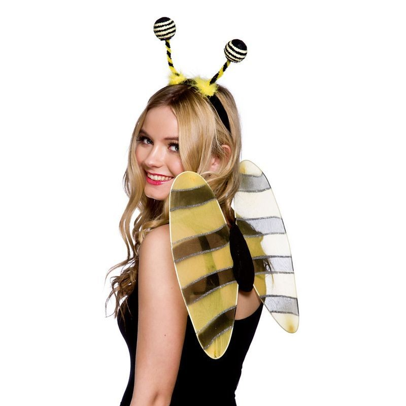 Ladies Bumblebee 2Pcs Set Wings & Antenne Accessories - (Black, Yellow)